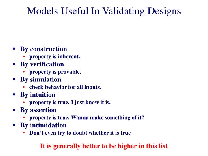 Models Useful In Validating Designs