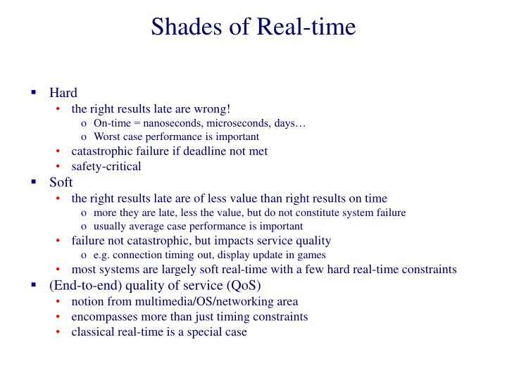 Shades of Real-time