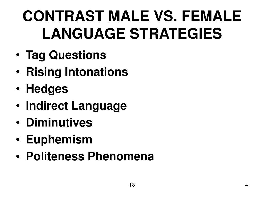 CONTRAST MALE VS. FEMALE LANGUAGE STRATEGIES