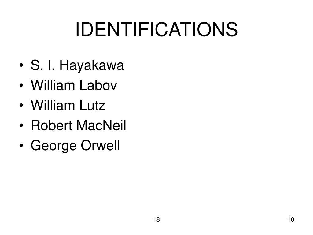 IDENTIFICATIONS