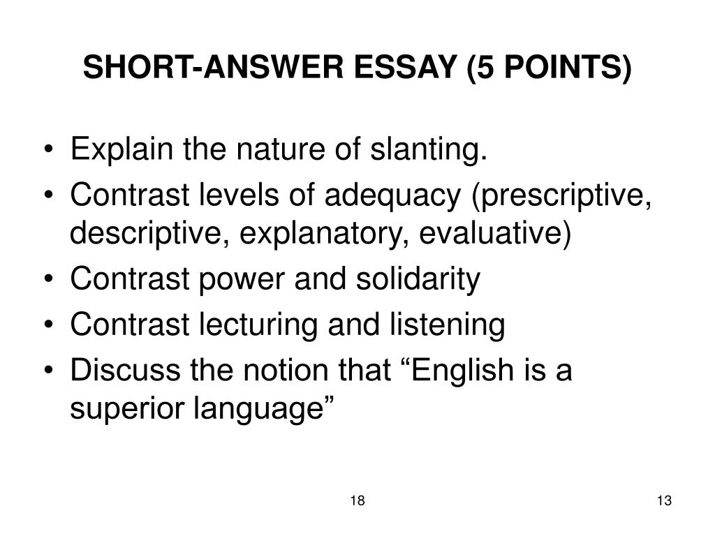 SHORT-ANSWER ESSAY (5 POINTS)