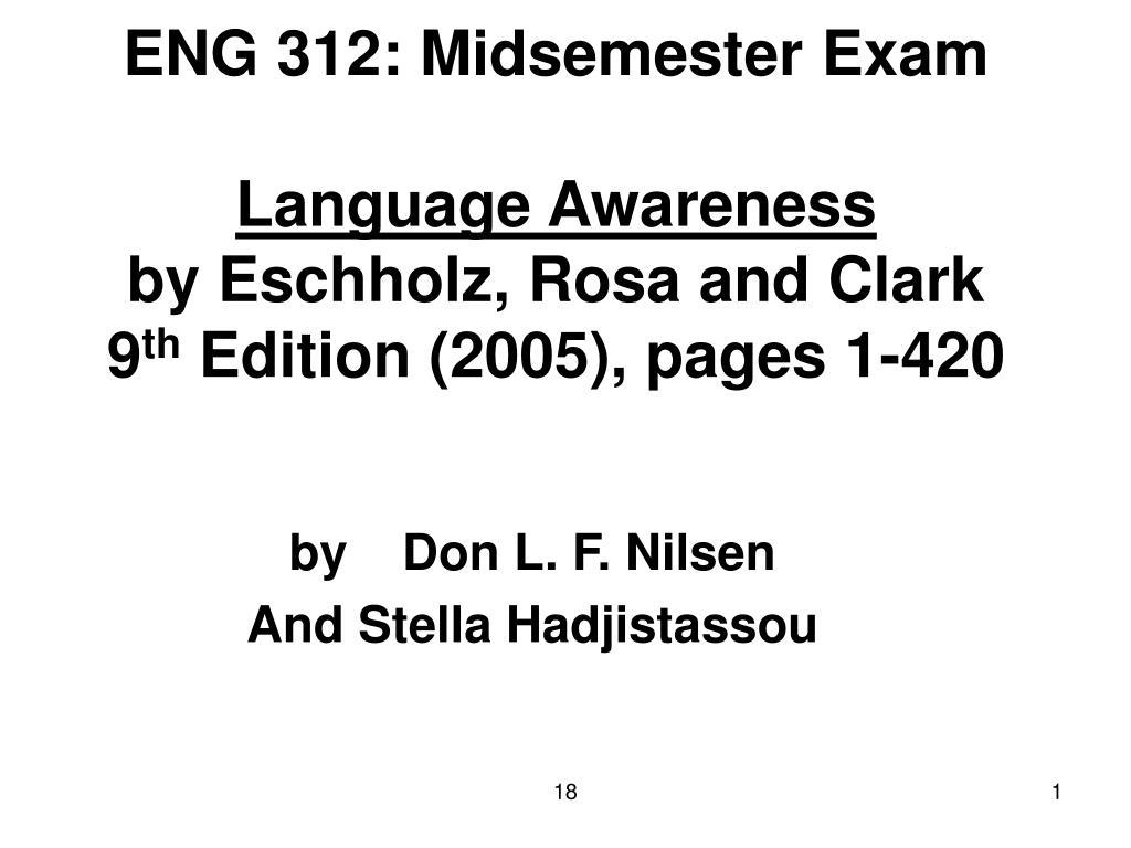 ENG 312: Midsemester Exam