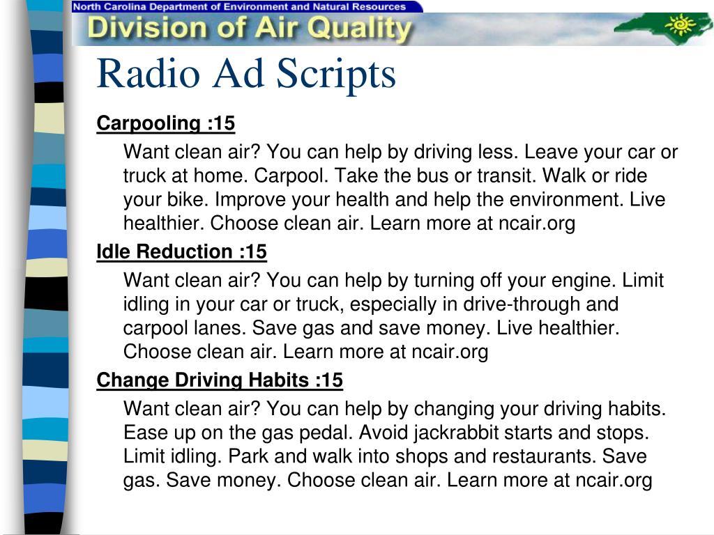 Radio Ad Scripts