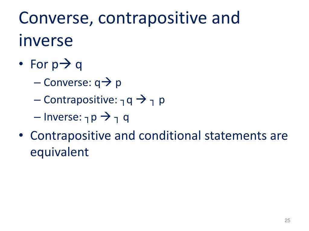 Converse, contrapositive and inverse