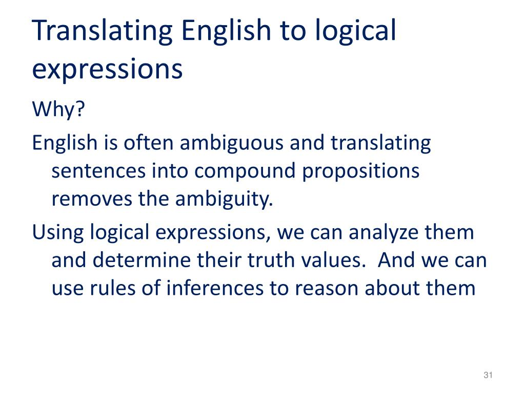 Translating English to logical expressions
