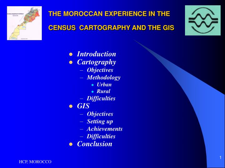 The moroccan experience in the census cartography and the gis