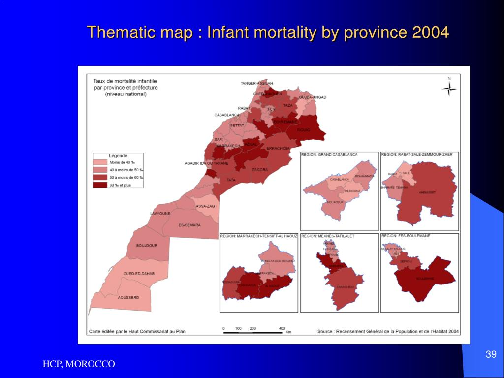 Thematic map : Infant mortality by province 2004
