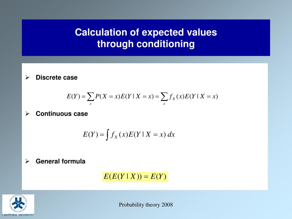 Calculation of expected values