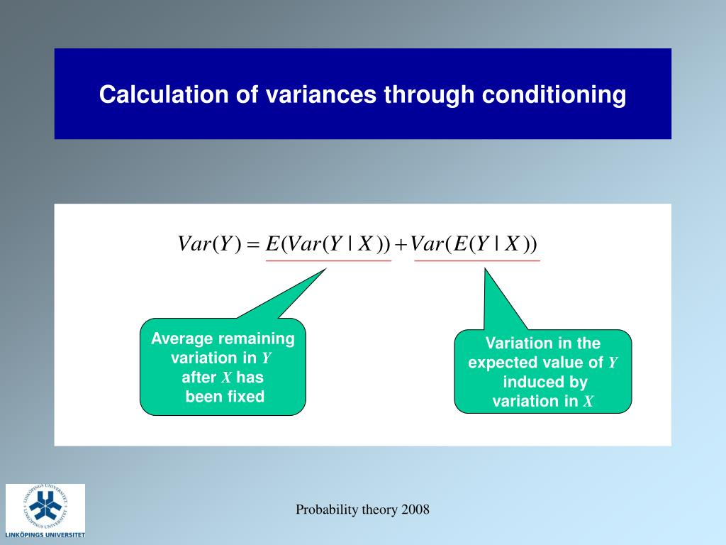 Calculation of variances through conditioning