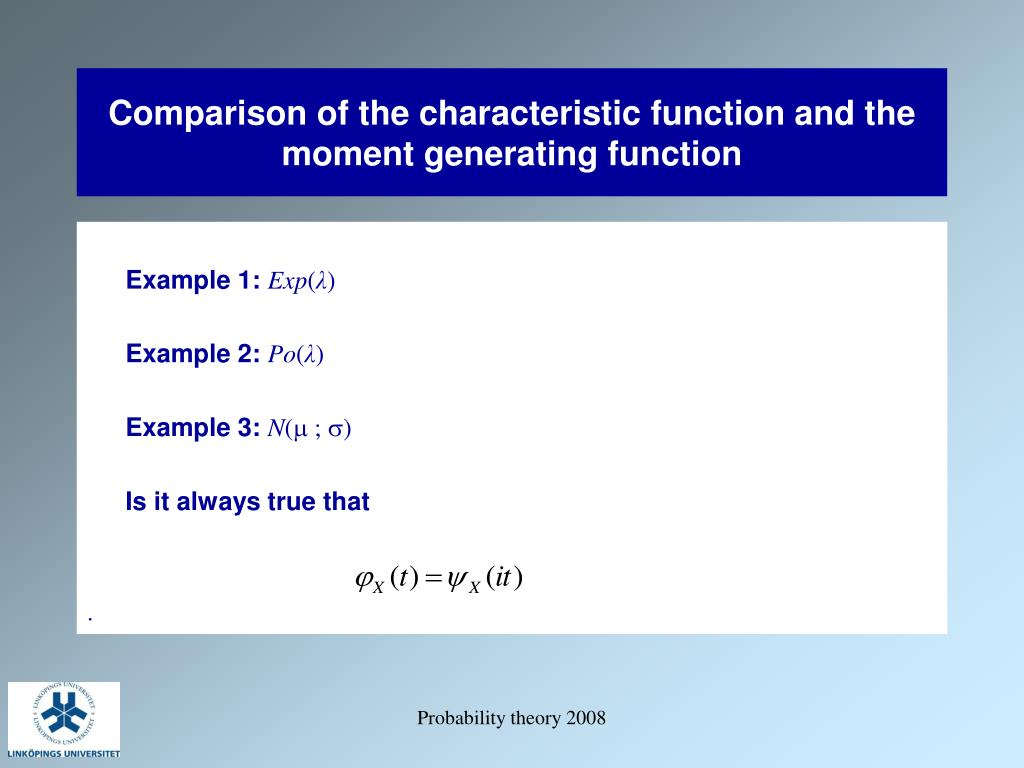 Comparison of the characteristic function and the moment generating function