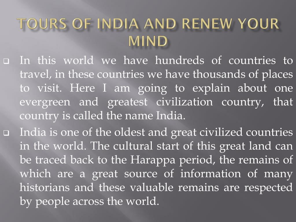 Tours of India and Renew Your Mind