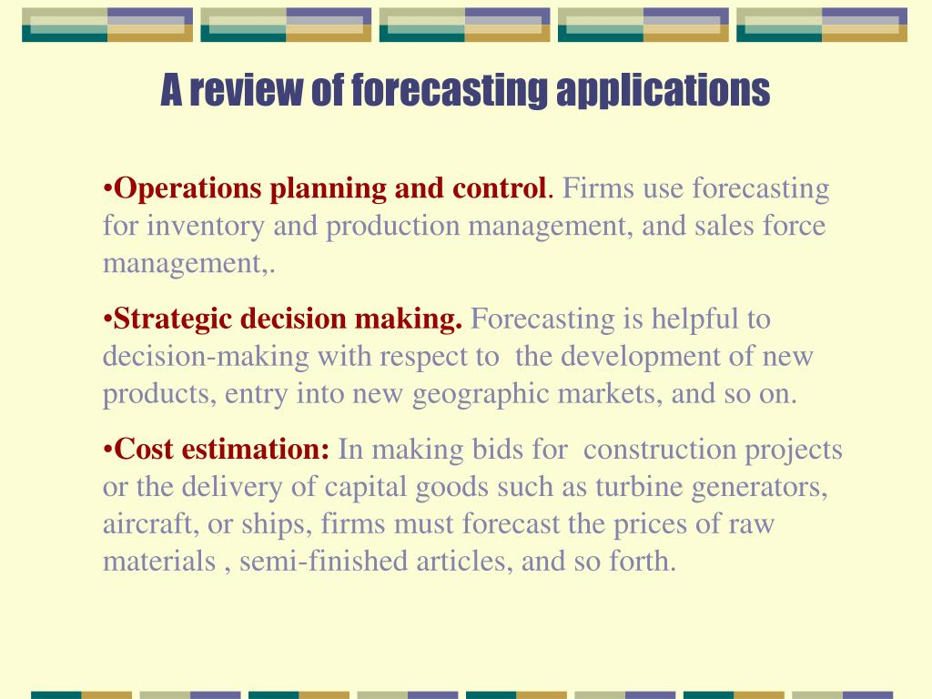A review of forecasting applications