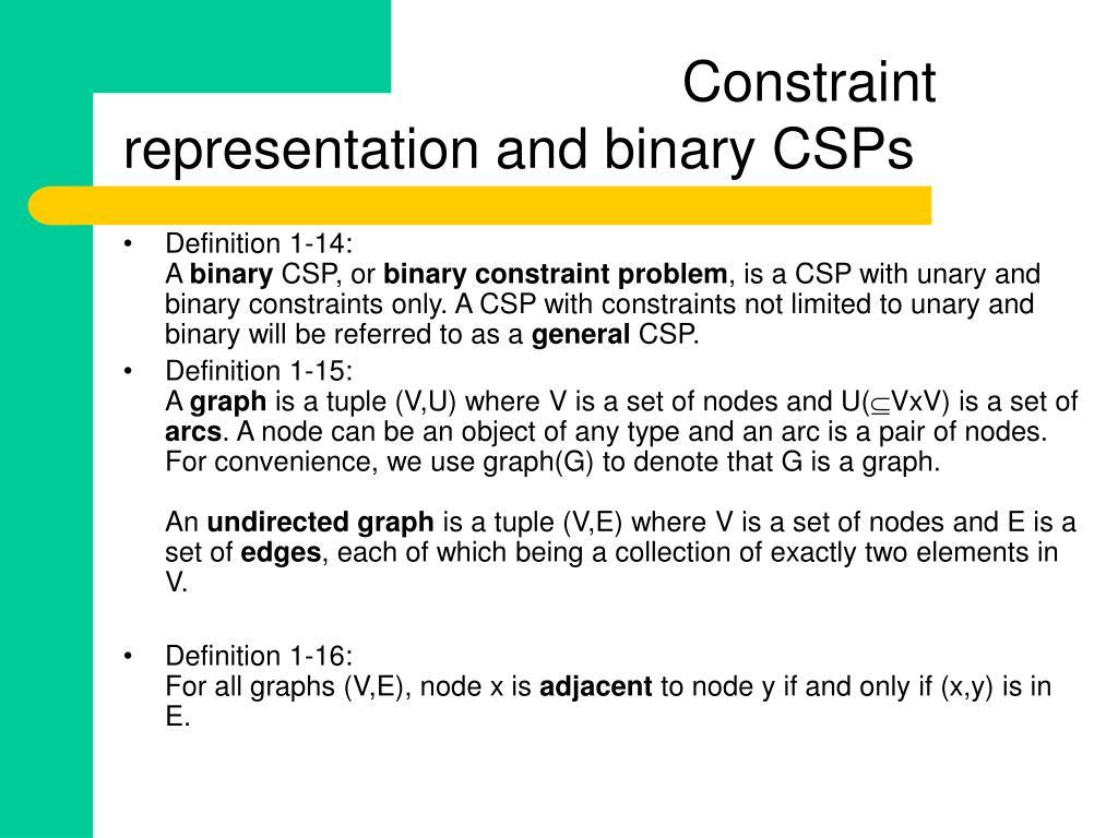 Constraint representation and binary CSPs