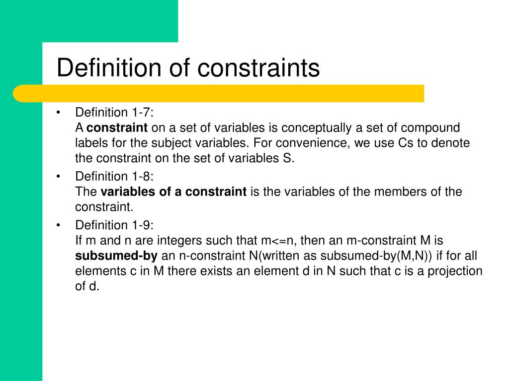 Definition of constraints
