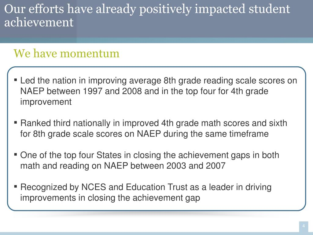 Our efforts have already positively impacted student achievement
