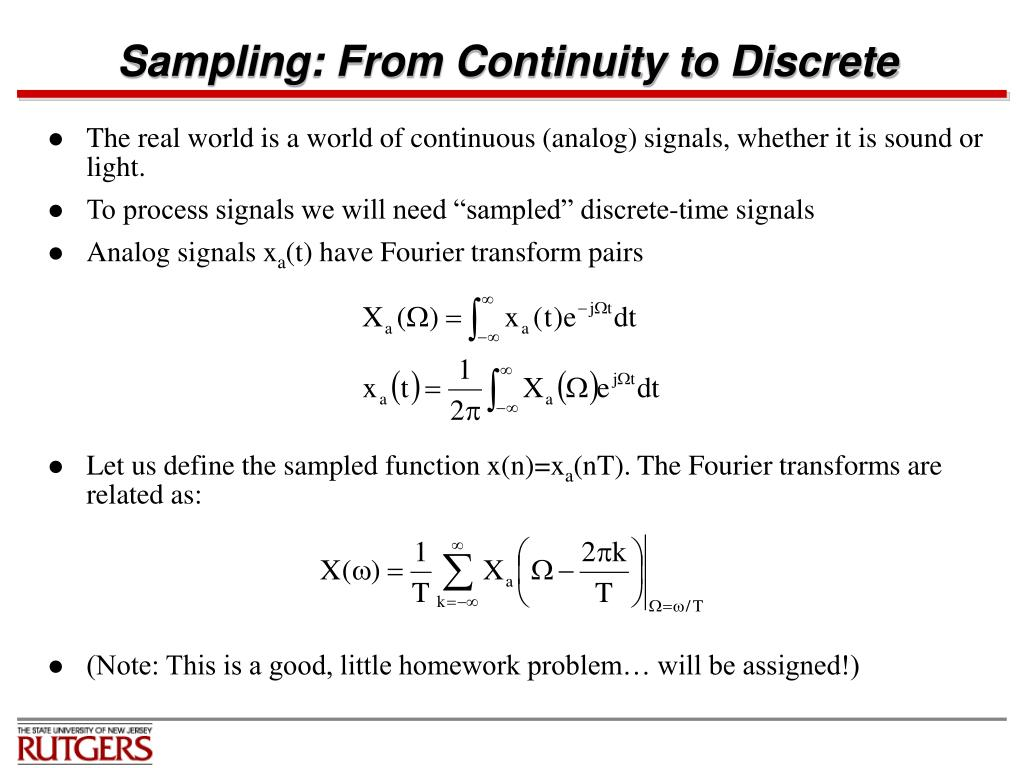 Sampling: From Continuity to Discrete