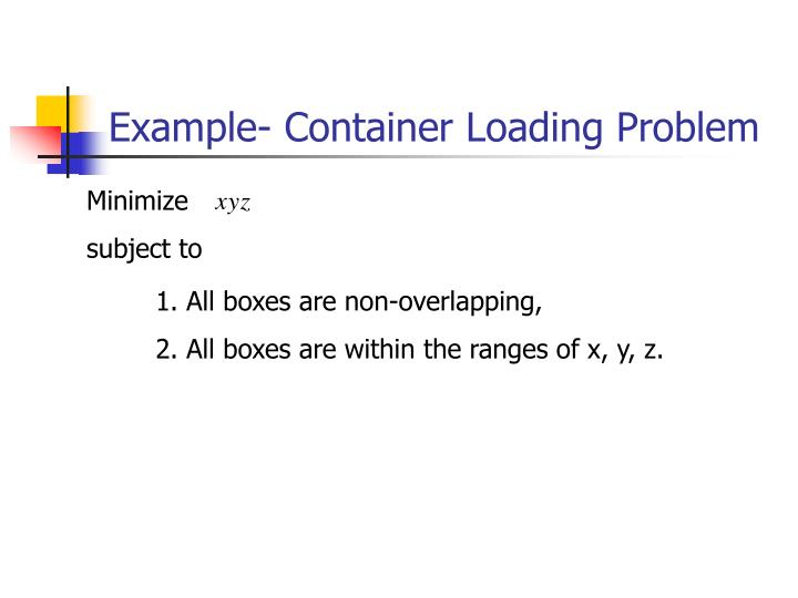 Example- Container Loading Problem
