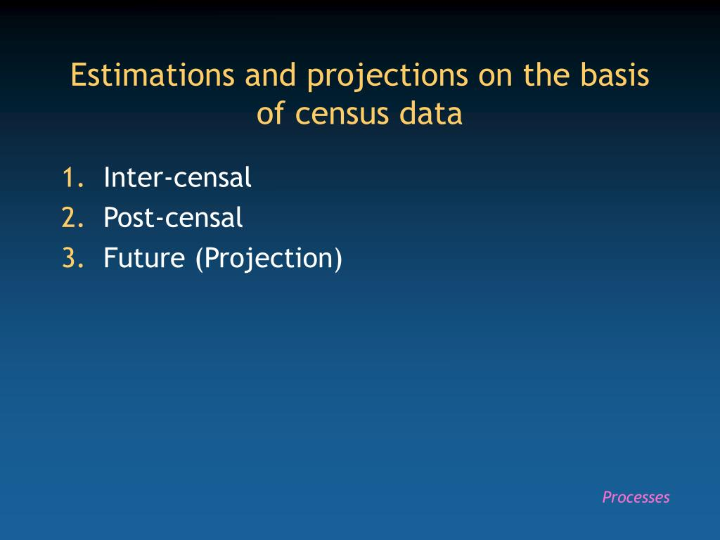 Estimations and projections on the basis of census data