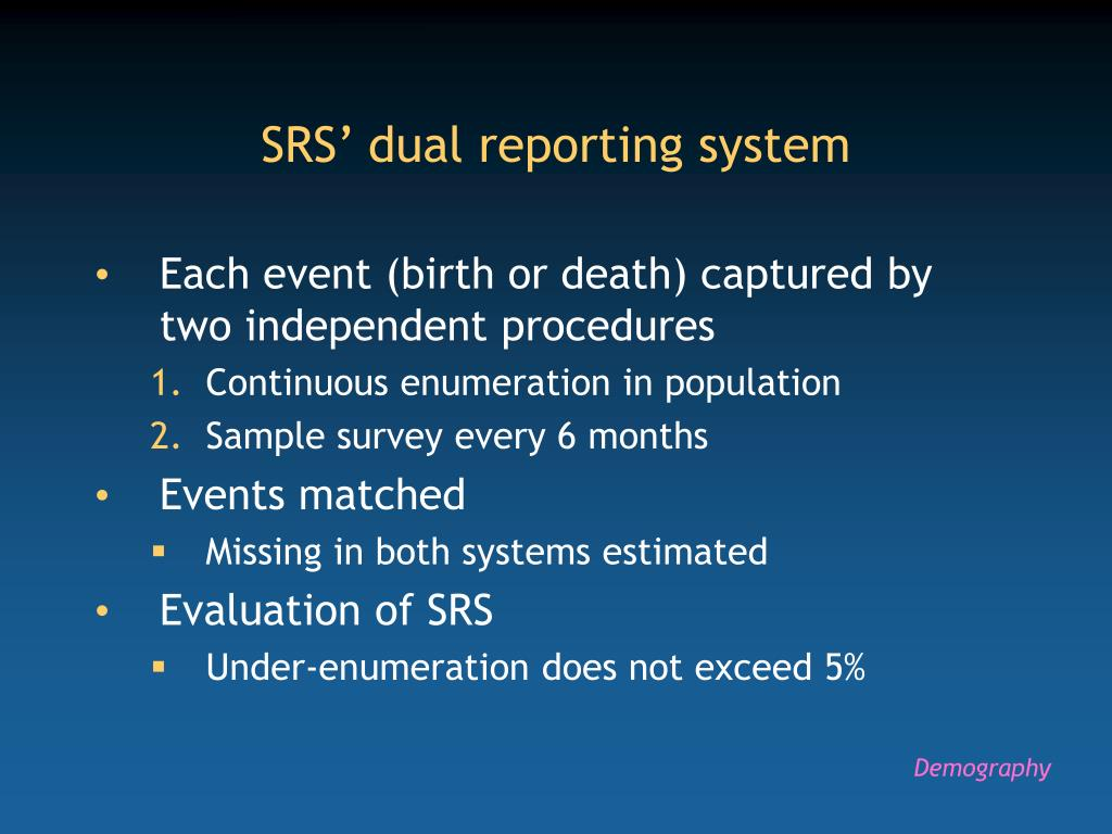 SRS' dual reporting system