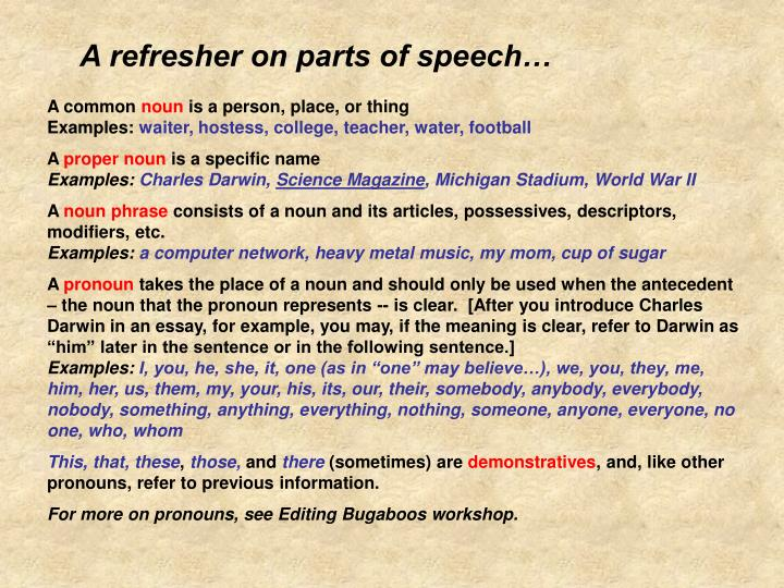 A refresher on parts of speech…
