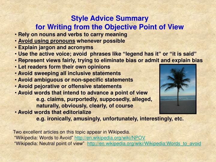 Style Advice Summary