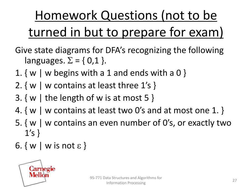 Homework Questions (not to be turned in but to prepare for exam)