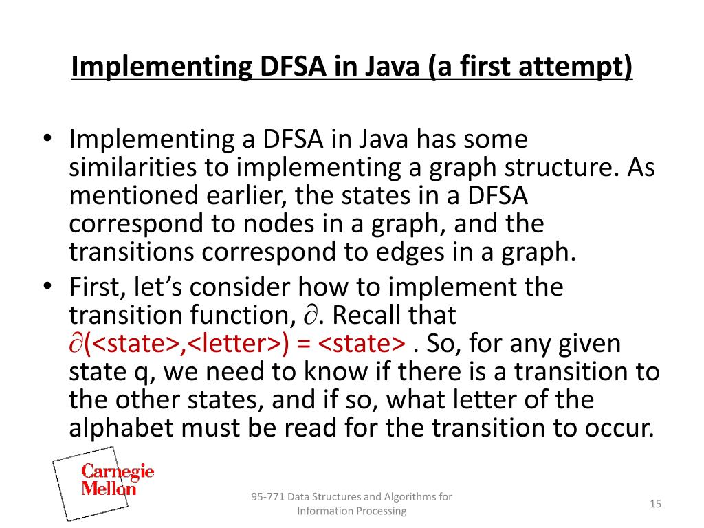 Implementing DFSA in Java (a first attempt)