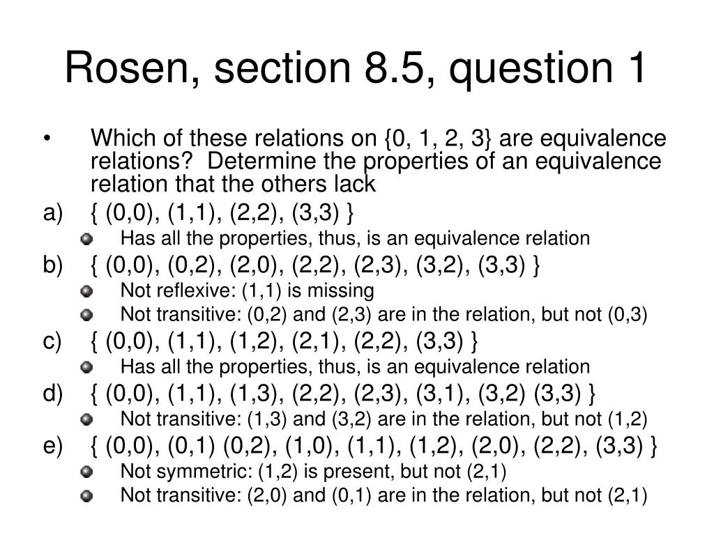 Rosen, section 8.5, question 1