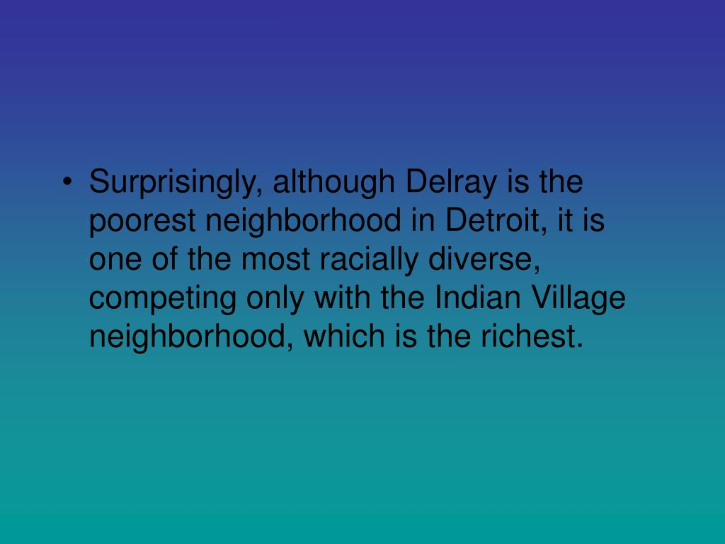 Surprisingly, although Delray is the poorest neighborhood in Detroit, it is one of the most racially diverse, competing only with the Indian Village neighborhood, which is the richest.