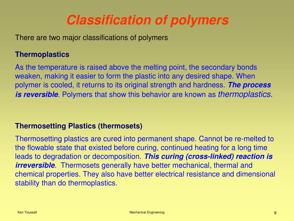 Classification of polymers