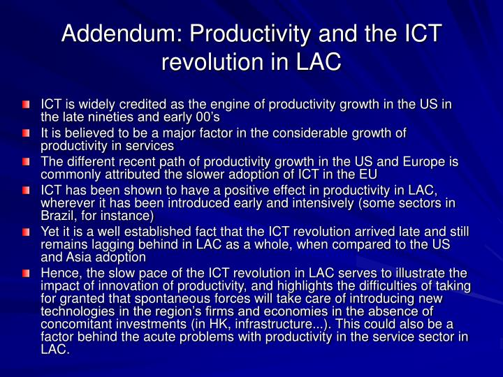 Addendum: Productivity and the ICT revolution in LAC