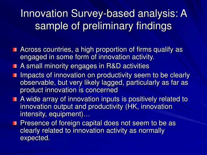 Innovation Survey-based analysis: A sample of preliminary findings