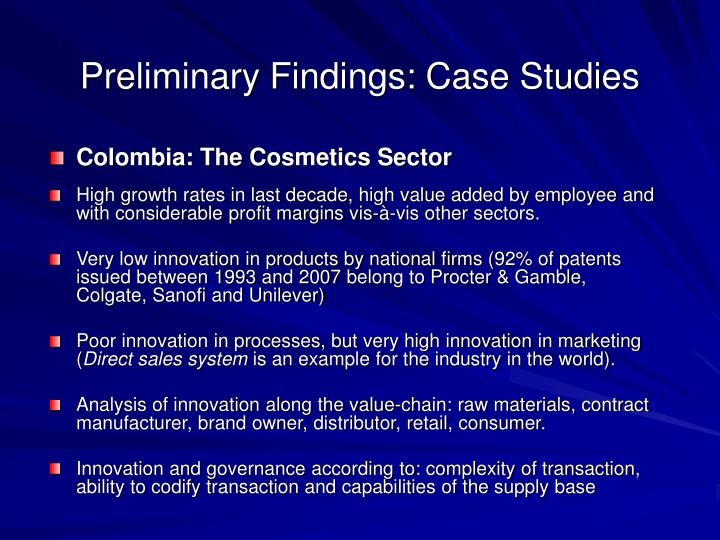 Preliminary Findings: Case Studies