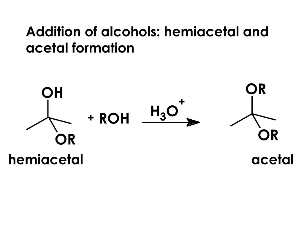 Addition of alcohols: hemiacetal and acetal formation