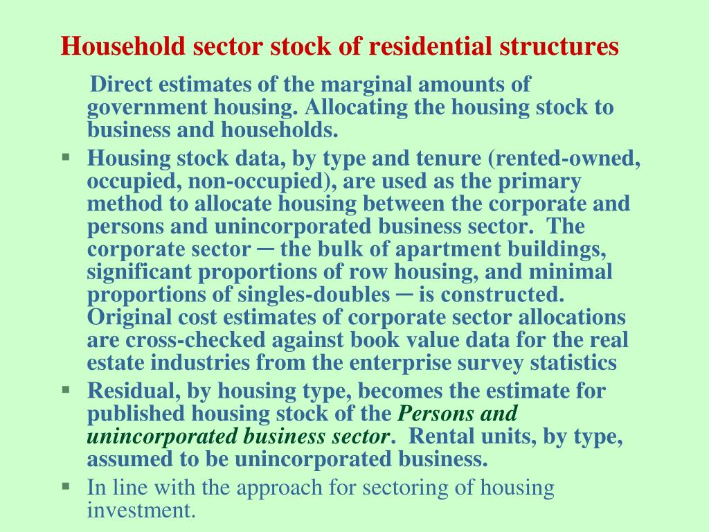 Household sector stock of residential structures