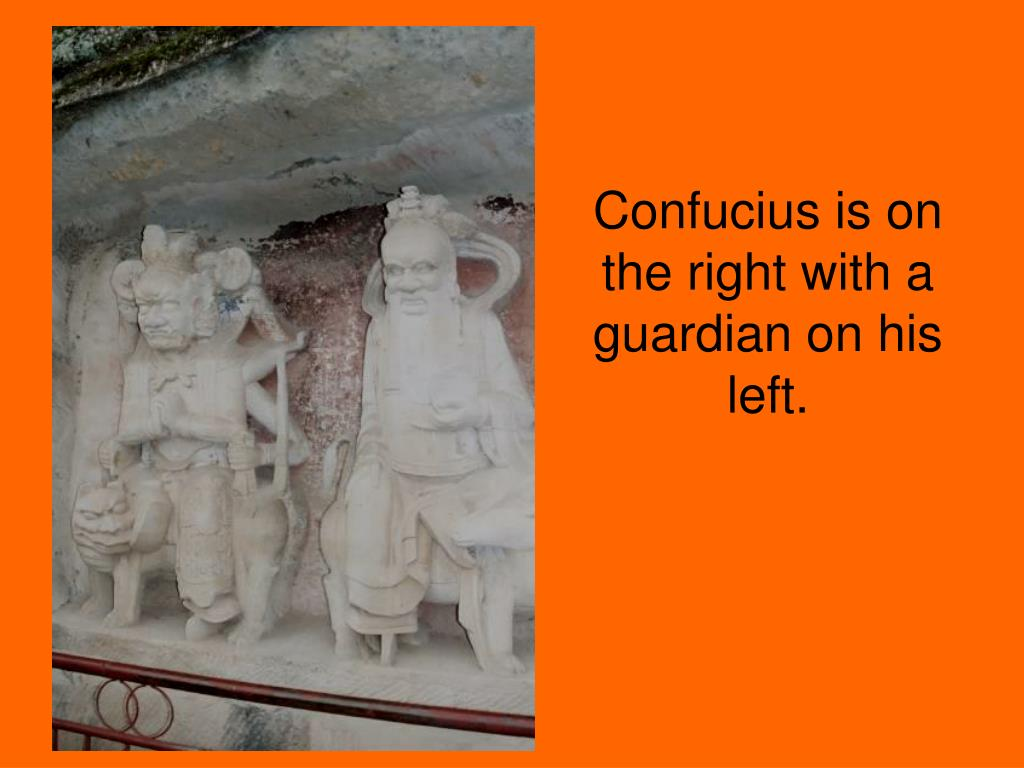 Confucius is on the right with a guardian on his left.