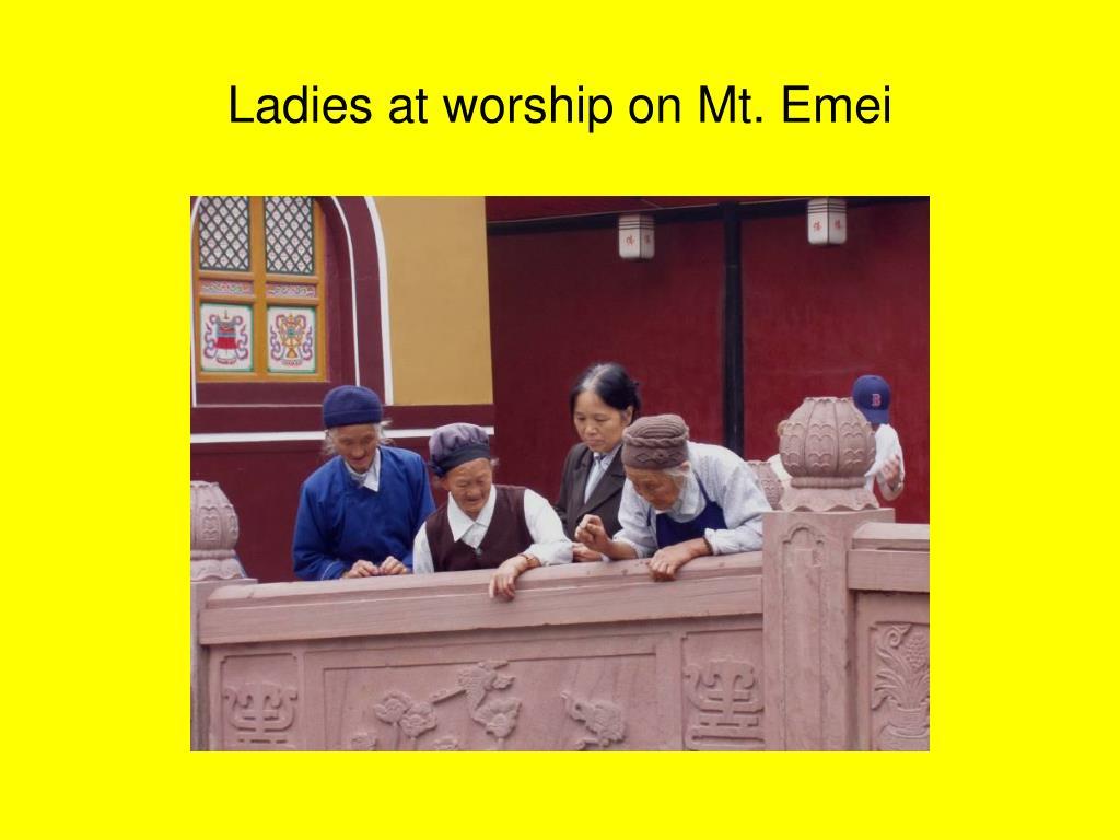 Ladies at worship on Mt. Emei