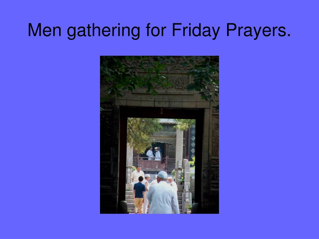 Men gathering for Friday Prayers.