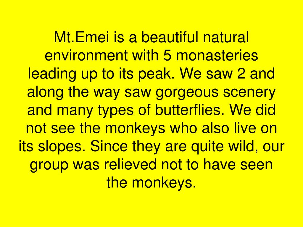 Mt.Emei is a beautiful natural environment with 5 monasteries leading up to its peak. We saw 2 and along the way saw gorgeous scenery and many types of butterflies. We did not see the monkeys who also live on its slopes. Since they are quite wild, our group was relieved not to have seen the monkeys.
