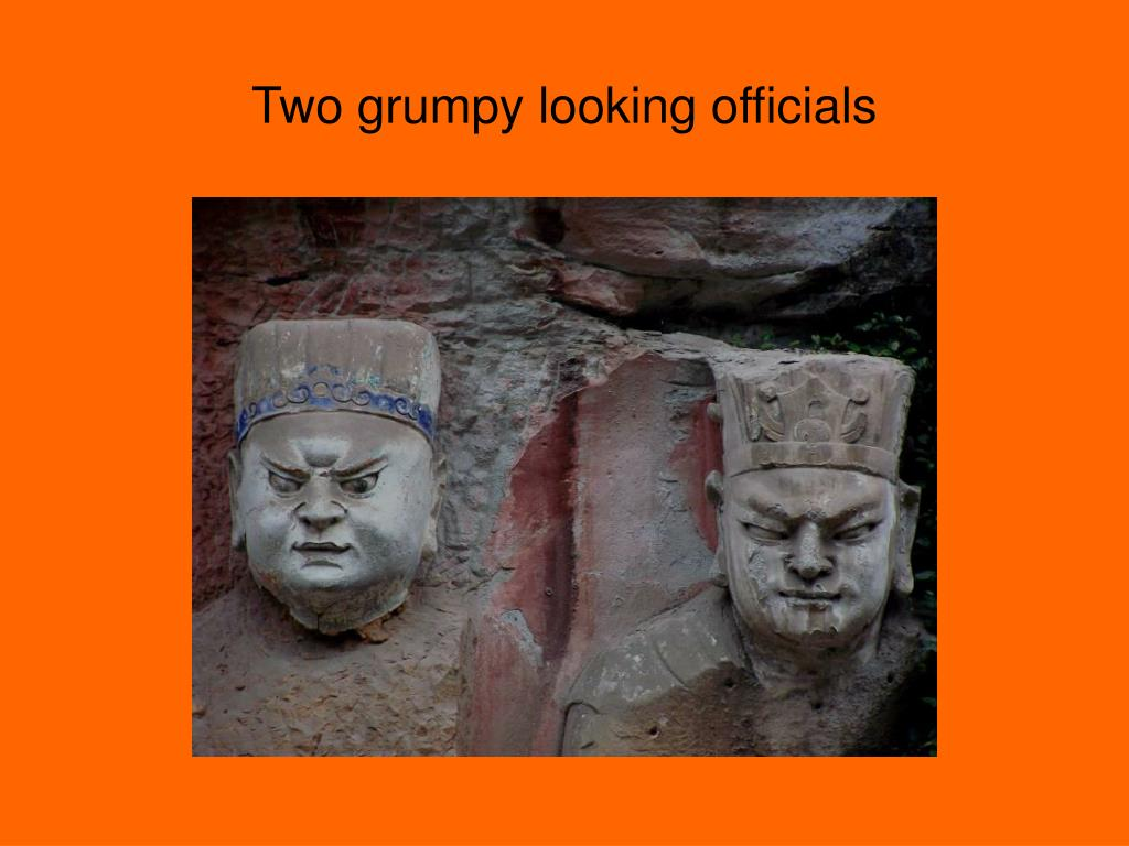 Two grumpy looking officials