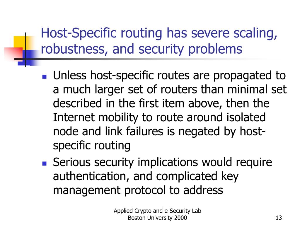 Host-Specific routing has severe scaling, robustness, and security problems