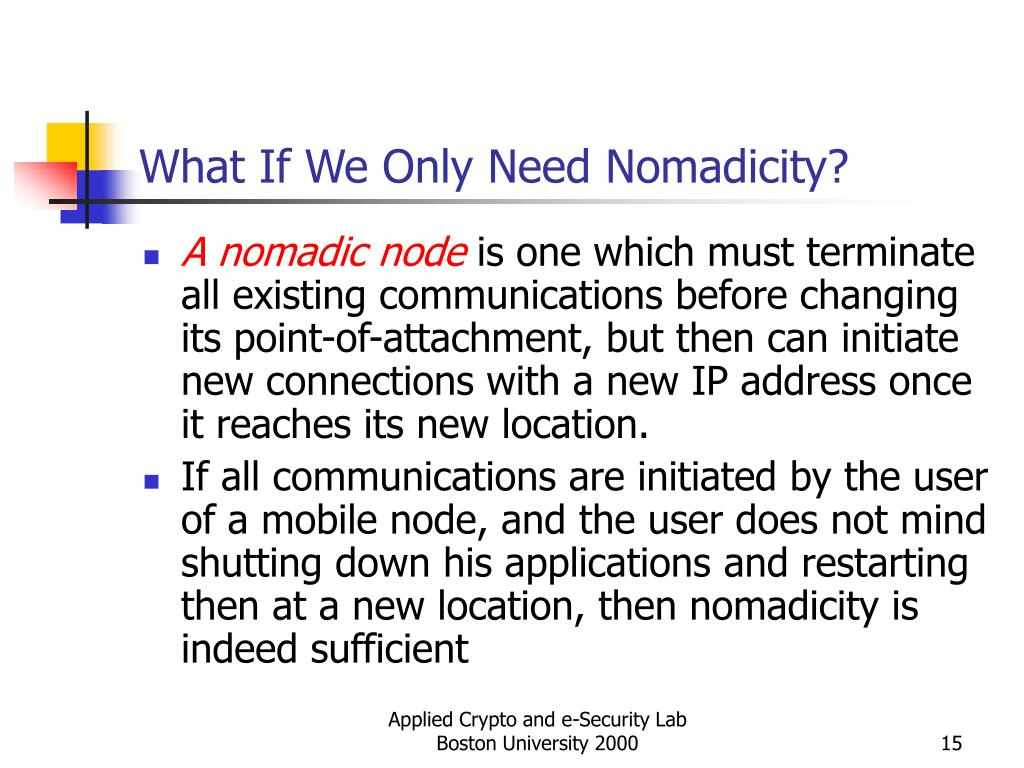 What If We Only Need Nomadicity?