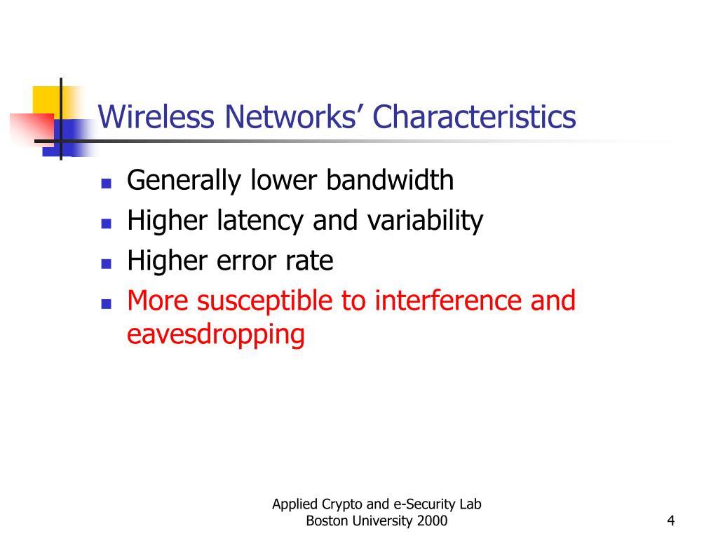 Wireless Networks' Characteristics