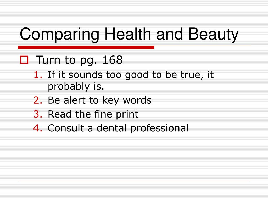 Comparing Health and Beauty