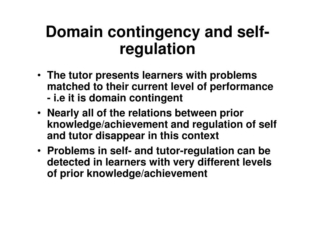 Domain contingency and self-regulation