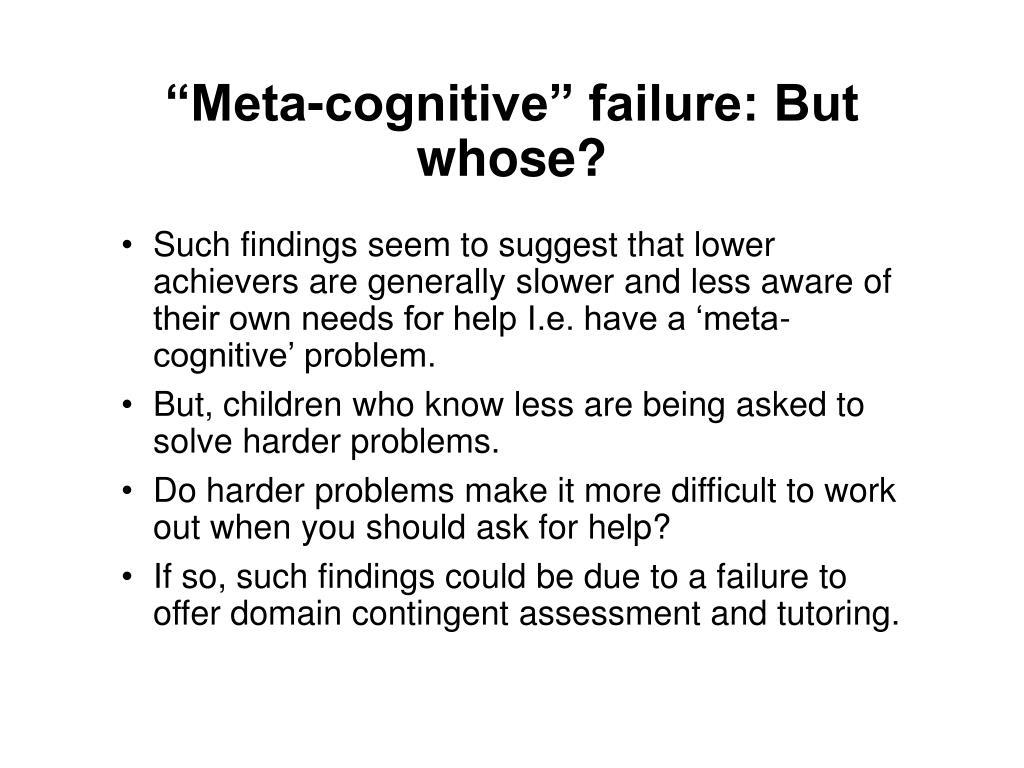 """Meta-cognitive"" failure: But whose?"