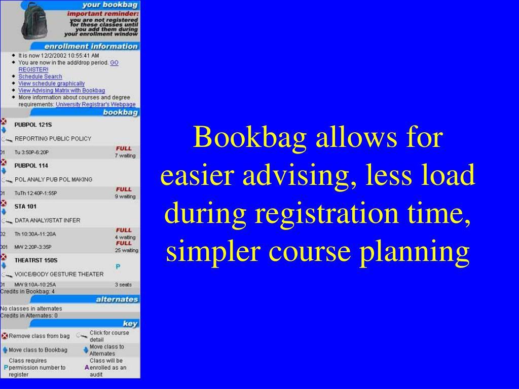 Bookbag allows for easier advising, less load during registration time, simpler course planning