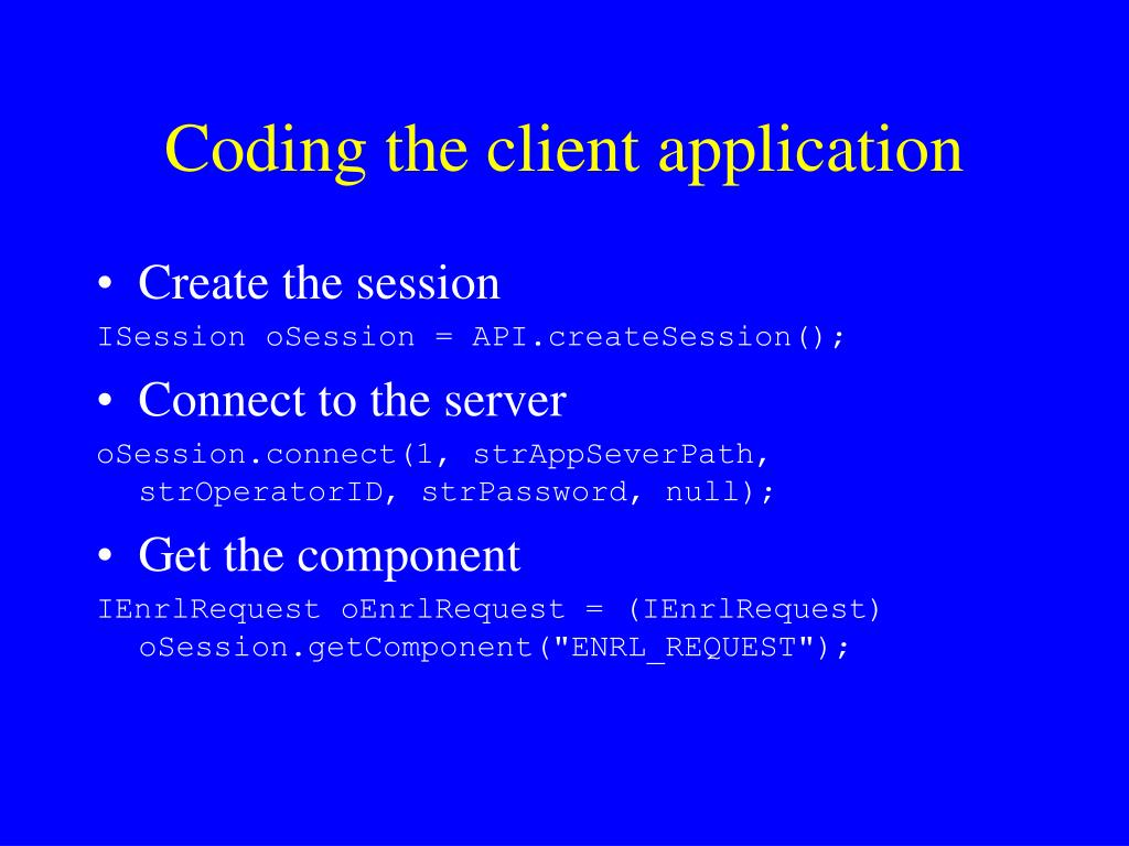 Coding the client application