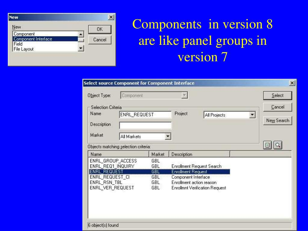 Components  in version 8 are like panel groups in version 7