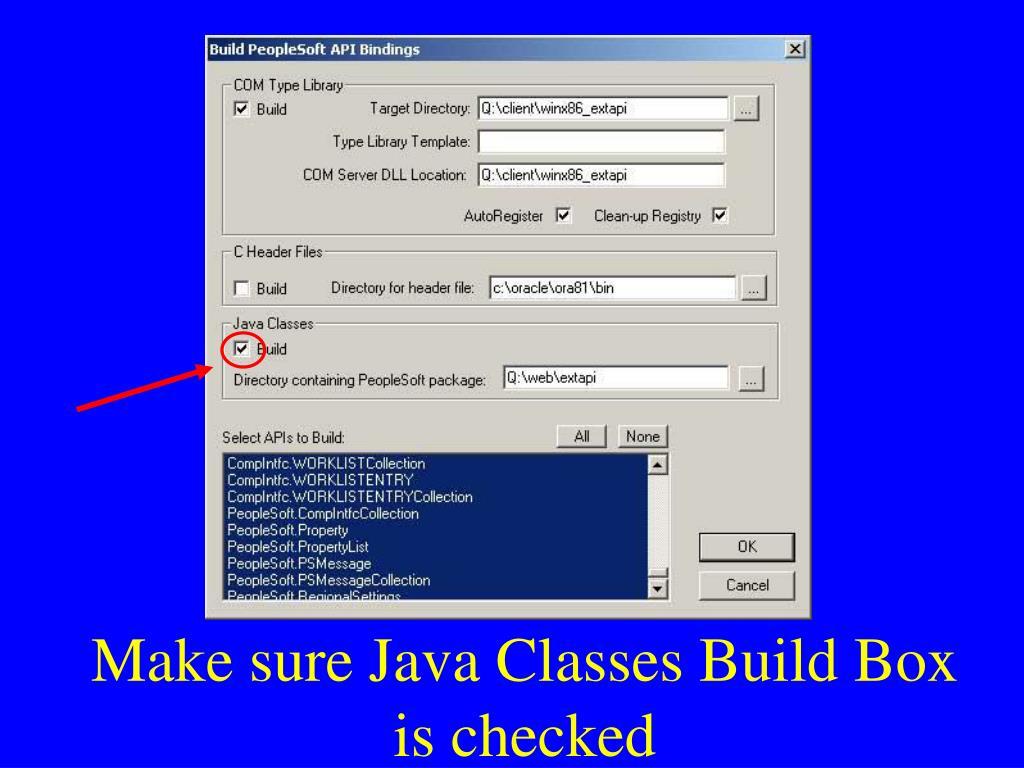 Make sure Java Classes Build Box is checked